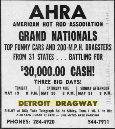 30 grand pot - not bad May 19 1967 Detroit Dragway, Brownstown Twp