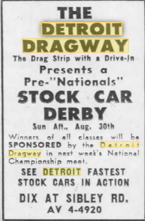 Aug 28 1959 Detroit Dragway, Brownstown Twp