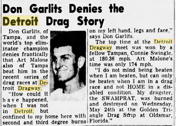 garlitz denies being beaten by art malone June 1961 Detroit Dragway, Brownstown Twp