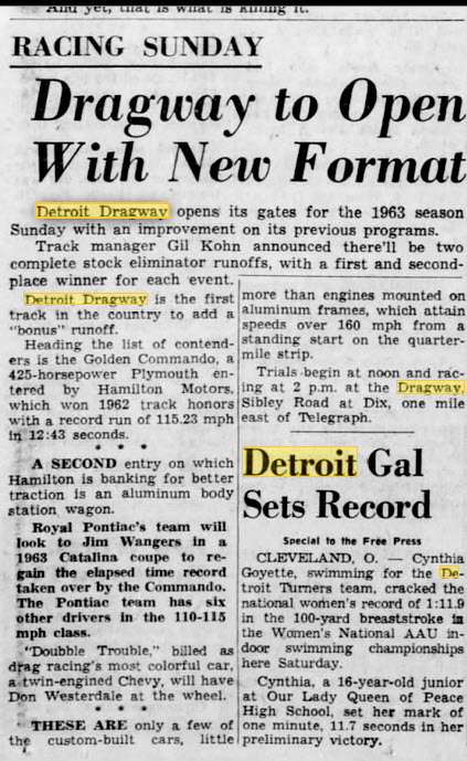 gil kohn announces new format March 31 1963 Detroit Dragway, Brownstown Twp