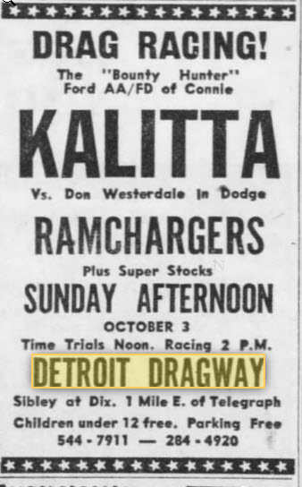 kalitta at the strip Oct 1965 Detroit Dragway, Brownstown Twp