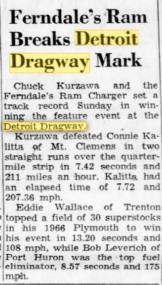 old friend of this site Chuck Kurzawa April 17 1967 Detroit Dragway, Brownstown Twp