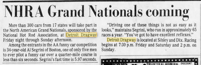 the NHRA Days May 15 1980 Detroit Dragway, Brownstown Twp