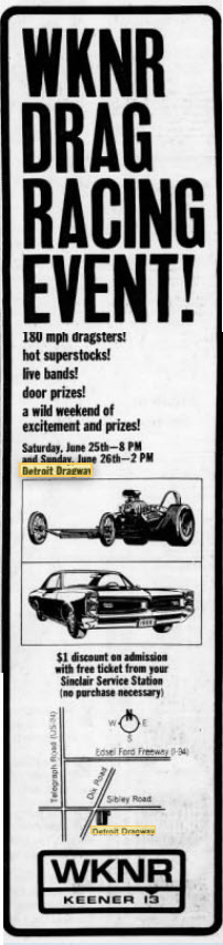 wknr promo June 24 1966 Detroit Dragway, Brownstown Twp
