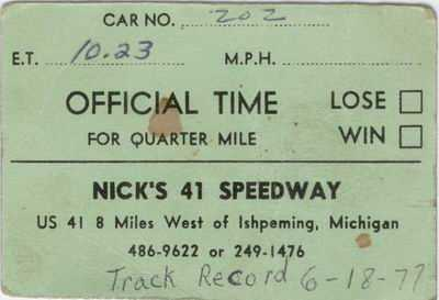 Nicks 41 Speedway - TIME TICKET FROM DANIEL DEPETRO