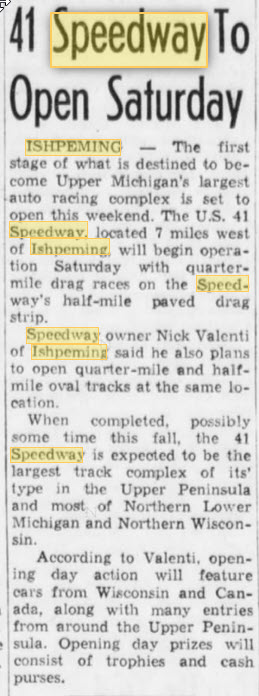 July 29 1972 article Nicks 41 Speedway, Ishpeming