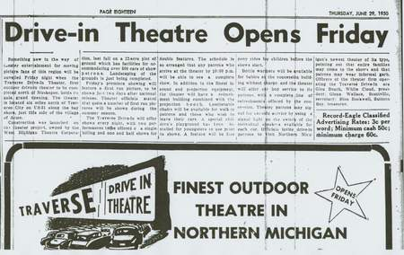 Traverse Drive-In Theatre - NEWSPAPER AD JUNE 30 1950