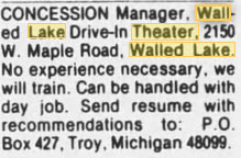 Walake Drive-In Theatre - HELP WANTED AT THE DRIVE-IN MAR 20 1985
