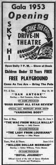 Sky-Hi Drive-In Theatre - MAY 28 1953 OPENING