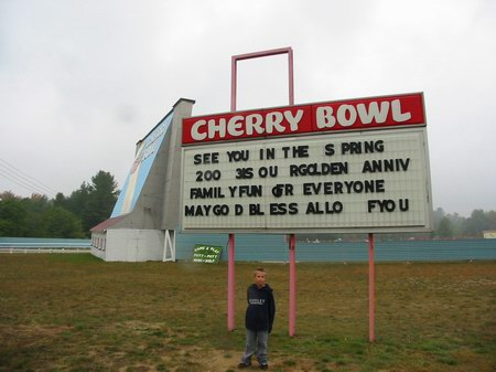 Cherry Bowl Drive-In Theatre - MARQUEE - PHOTO FROM WATER WINTER WONDERLAND