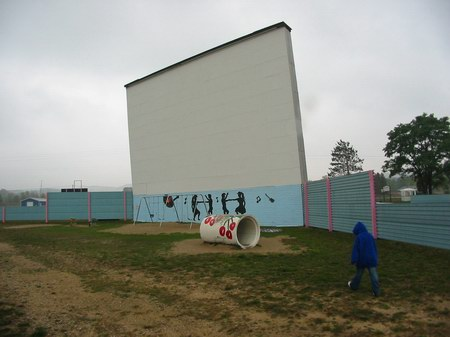 Cherry Bowl Drive-In Theatre - FRONT OF SCREEN - PHOTO FROM WATER WINTER WONDERLAND