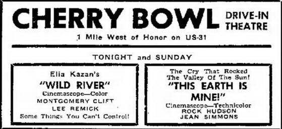 Cherry Bowl Drive-In Theatre - SEPT 24 1960 AD