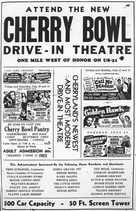 Cherry Bowl Drive-In Theatre - OLD AD FROM RON GROSS