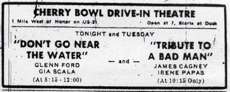 Cherry Bowl Drive-In Theatre - OLD NEWS AD