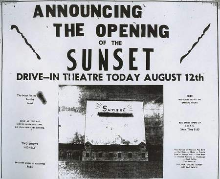 Sunset Drive-In Theatre - OLD AD