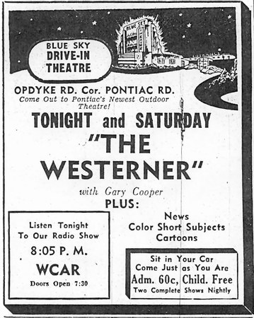 Blue Sky Drive-In Theatre - AD FROM OAKLAND PRESS