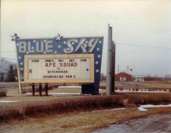 Blue Sky Drive-In Theatre - 1975 SHOT OF MARQUEE FROM GREG