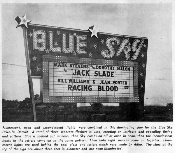 Blue Sky Drive-In Theatre - FROM BOX OFFICE MAGAZINE SEPT 1955
