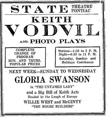 State Theatre - 1926 AD FROM JAMES