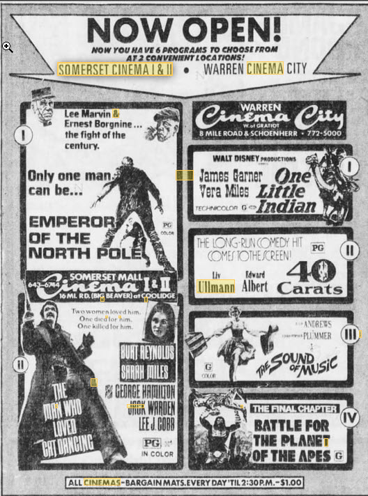 Somerset Cinema I & II - AD FROM JUNE 29 1973