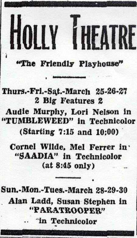 Holly Theatre - OLD AD