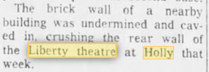 Holly Theatre - 05 APR 1961 ARTICLE REFERS TO 35 YEARS PRIOR