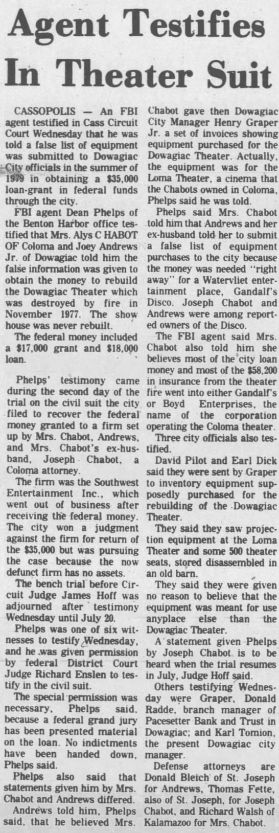 Dowagiac Theatre - JUNE 18 1981