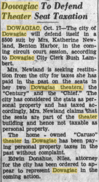 Dowagiac Theatre - OCT 17 1950 ARTICLE ON TAX