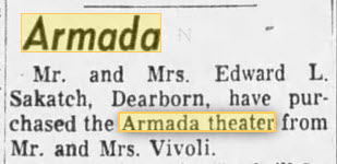 Armada Theatre - 18 FEB 1958 THEATER CHANGES HANDS