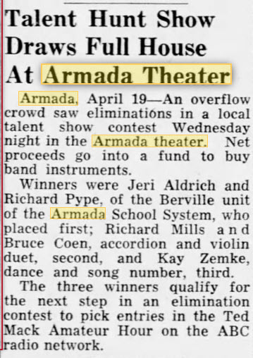 Armada Theatre - 20 APR 1952 TALENT SHOW
