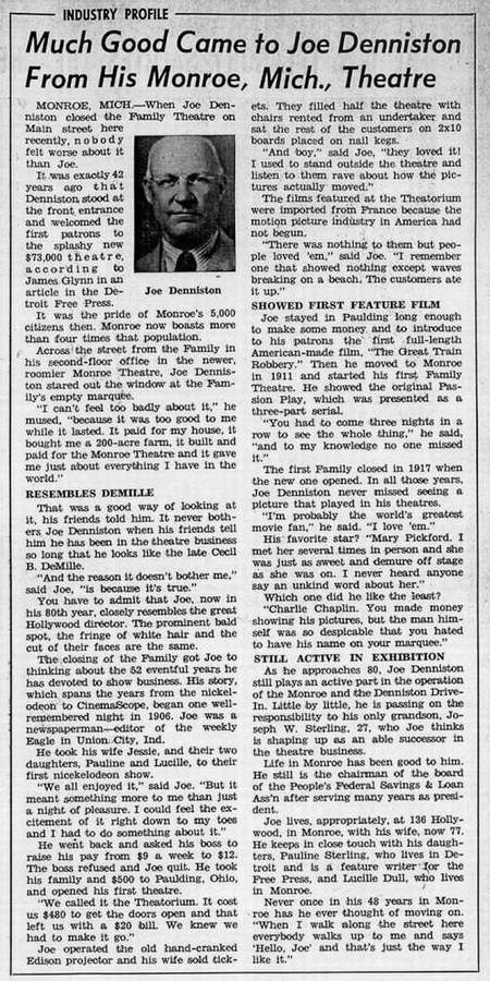 Monroe Theatre - OLD ARTICLE