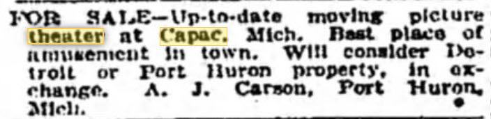 Capac Theatre - DEC 9 1917 FOR SALE