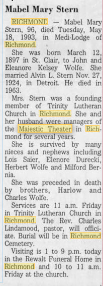 Majestic Theater - ANOTHER FORMER MANAGER PASSES AWAY MAY 20 1993