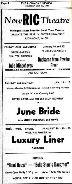 Ric Theater - RIC THEATRE ADVERTISEMENT JAN 13 1949