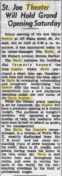 Harlo Theater - 20 OCT 1944 ARTICLE