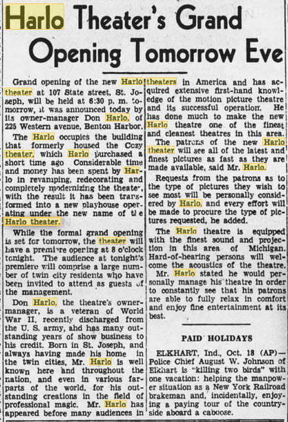 Harlo Theater - 20 OCT 1944 GRAND OPENING ARTICLE