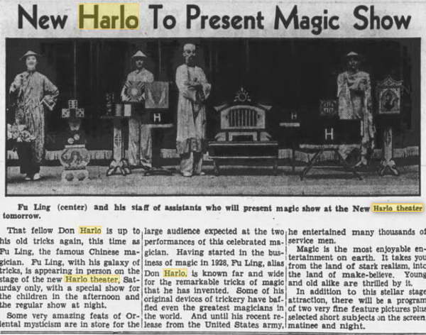 Harlo Theater - MAR 2 1945 MAGIC SHOW