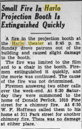 Harlo Theater - NOV 17 1947 REPORT OF FIRE IN BOOTH