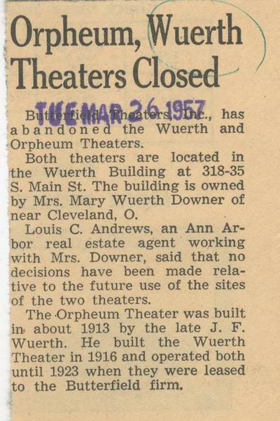Orpheum Theatre - OLD ARTICLE FROM ANN ARBOR NEWS