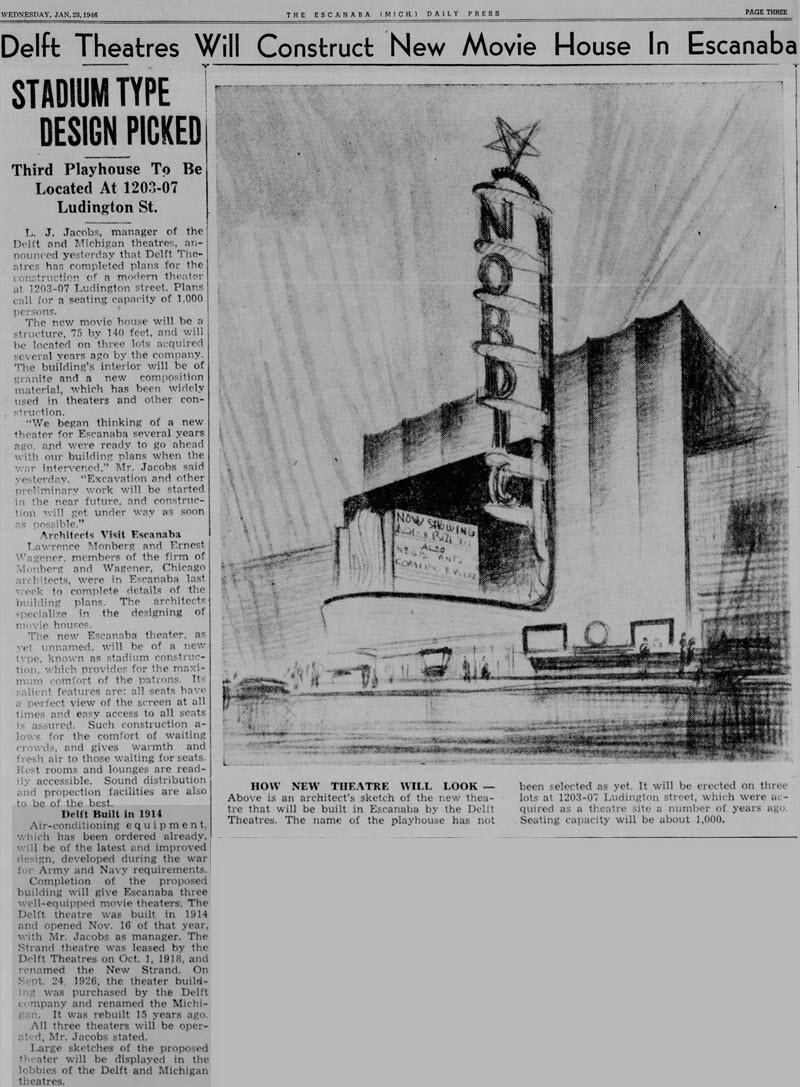 Michigan Theatre - JAN 23 1946 ARTICLE ON NEW THEATER NEVER BUILT AND HISTORY OF STRAND AND MICHIGAN